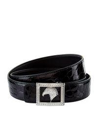 Stefano Ricci   Black Eagle Square Buckle Crocodile Belt for Men   Lyst