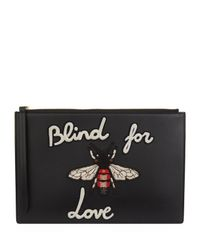 7cea4f00a064 Gucci Blind For Love Bee Pouch in Black - Lyst
