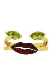 Delfina Delettrez - Green Peridot Portrait Ring - Lyst