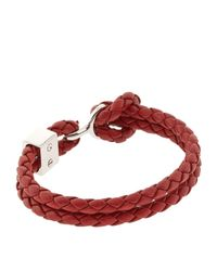 Burberry - Red Braided Leather Bracelet - Lyst