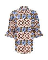Sandro - Natural Printed Silk Shirt - Lyst
