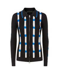 Versace - Black Ribbed Mesh Panel Zip Up Cardigan - Lyst