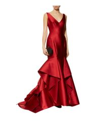 Monique Lhuillier - Red Ruffled Hem Mikado Gown - Lyst