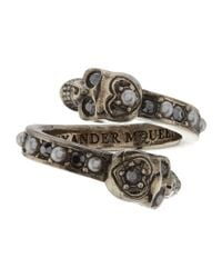 Alexander McQueen - Metallic Wrap Around Skull Ring - Lyst