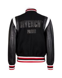 Givenchy - Black Embroidered Logo Contrast Sleeve Bomber Jacket for Men - Lyst