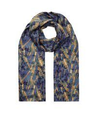 Eskandar - Blue Printed Silk Scarf - Lyst
