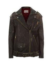 Tommy Hilfiger - Black Vintage-effect Leather Biker Jacket - Lyst