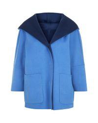 Weekend by Maxmara - Blue Reversible Hooded Wool Coat - Lyst
