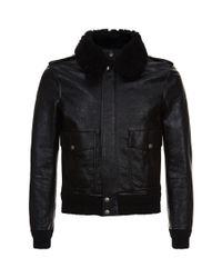 Saint Laurent Black Shearling Collar Leather Jacket for men