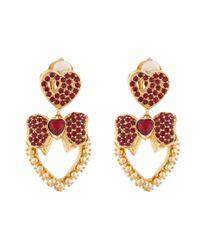 Dolce & Gabbana - Metallic Heart Drop Crystal-embellished Earrings - Lyst
