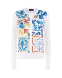 Dolce & Gabbana - Blue Majolica Panel Cardigan - Lyst