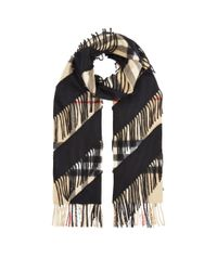 Burberry - Brown Giant Check Cashmere Scarf - Lyst