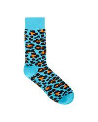 Happy Socks - Blue Leopard Intarsia Cotton Blend Socks for Men - Lyst