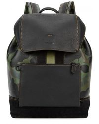 COACH - Green Camouflage-print Leather Backpack - Lyst