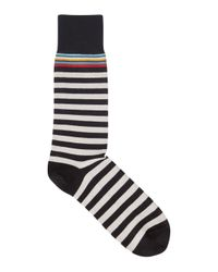 Paul Smith - Black Striped Stretch Cotton Socks - Lyst
