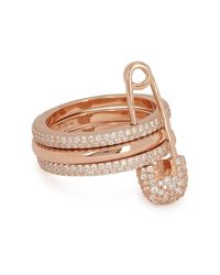 Apm Monaco - Multicolor Rose Gold-plated Safety Pin Ring - Lyst