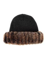 Hockley - Gray Chan Fur-trimmed Wool Beanie - Lyst