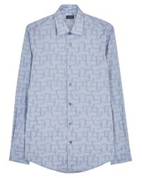 Pal Zileri | Pale Blue Cotton Jacquard Shirt for Men | Lyst