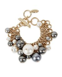Lanvin | Metallic Faux Pearl Gold Tone Bracelet | Lyst
