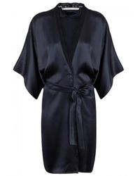 Stella McCartney - Blue Clara Whispering Lace-trimmed Silk Robe - Size S - Lyst