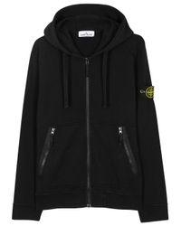 Stone Island | Black Hooded Cotton Sweatshirt for Men | Lyst