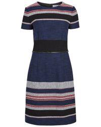 HUGO   Blue Detina Striped Cotton Blend Dress   Lyst