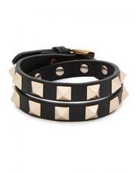Valentino - Black Rockstud Small Leather Wrap Bracelet - Lyst