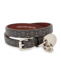 Alexander McQueen - Brown Printed Leather Wrap Bracelet for Men - Lyst