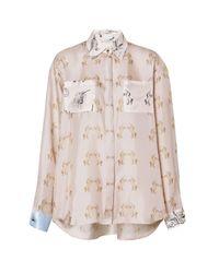 Burberry Pink Contrast Unicorn Print Silk Twill Shirt