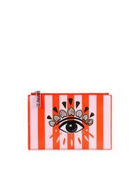 KENZO - Red Striped Eye-appliquéd Pouch - Lyst