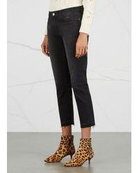 Current/Elliott Gray The Cropped Straight Dark Grey Jeans