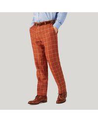 Harvie and Hudson - Burnt Orange Check Linen Trousers for Men - Lyst