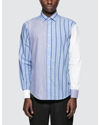 J.W. Anderson - Blue Panelled Classic Shirt for Men - Lyst