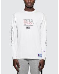 Champion - White Script Logo L/s T-shirt for Men - Lyst