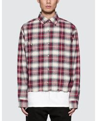 Matte Perle Multicolor Fake Cropped Flannel Shirt for men