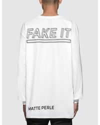 Matte Perle White Oversized Fake L/s T-shirt for men