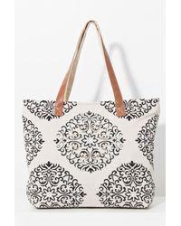Pia Rossini - Bimini Natural/black Embellished Tassel Canvas Bag - Lyst