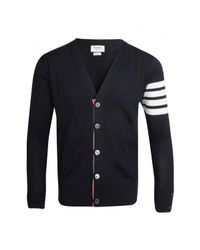 Thom Browne | Classic V-neck Wool Cardigan Navy Blue for Men | Lyst