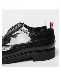 Thom Browne - Patent Longwing Brogue Shoe Black for Men - Lyst