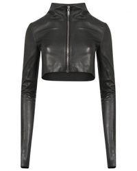 Rick Owens | Cropped Zip-up Leather Jacket Black | Lyst