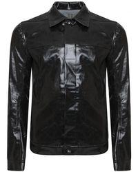 Rick Owens Drkshdw - Black Coated Denim Worker Jacket for Men - Lyst