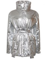 MSGM | Metallic Funnel Puffer Coat Silver | Lyst