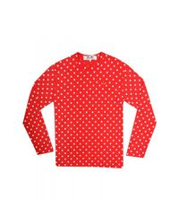 Comme des Garçons | Play Mens Red Heart Polka Dot T-shirt Red for Men | Lyst