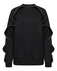 MSGM | Zippered Ruffle Sweatshirt Black | Lyst