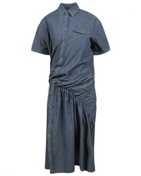 Junya Watanabe - Asymmetric Gathered Shirt Dress Blue - Lyst