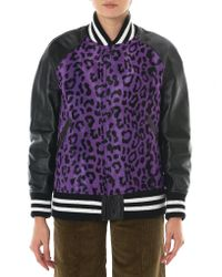 Junya Watanabe | Purple Leather-paneled Leopard-print Faux Fur Bomber Jacket | Lyst