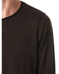 Ziggy Chen - Black Striped Cashmere Long-sleeve Tee for Men - Lyst