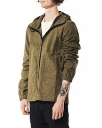 Christopher Raeburn - Green Line-printed Hooded Windbreaker for Men - Lyst