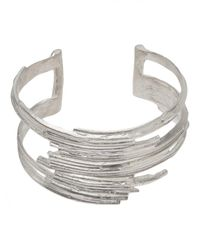 1-100 | Metallic Sterling Silver Layered Cuff | Lyst