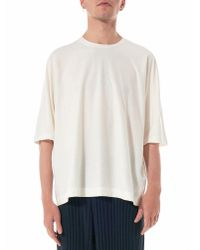 Homme Plissé Issey Miyake - White Relaxed Round Neck Tee for Men - Lyst